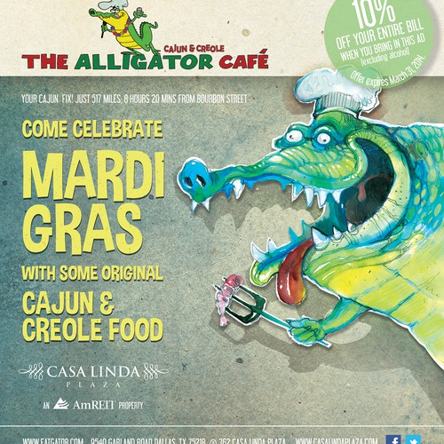 Create a Mardi Gras ad for The Alligator Cafe