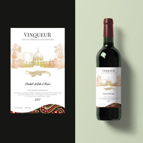 Label for Côte d'Ivoire wine - Vinqueur