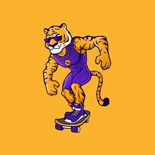 Superhero tiger mascot