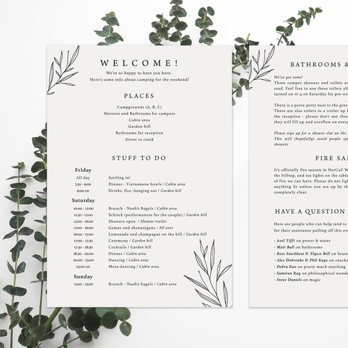 Minimalistic wedding program design