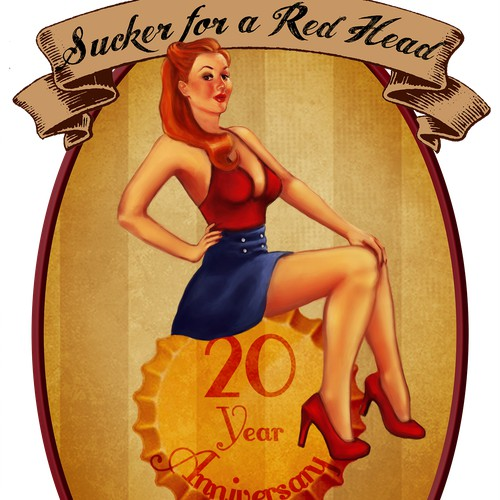 Classy Pin-Up Girl Illistration for Beer Label