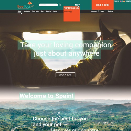 Travel Agency site for people with pets concept
