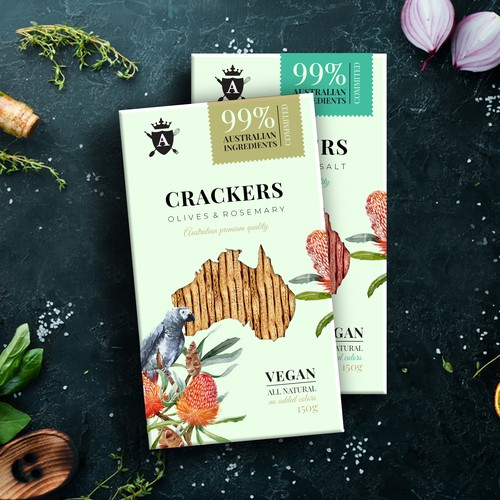 Lavosh Crackers packaging.