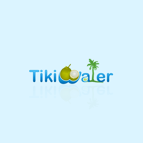 Create a logo for Tiki Water a modern twist on coconut water