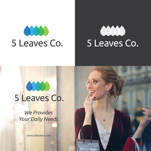 5 leaves co logo design