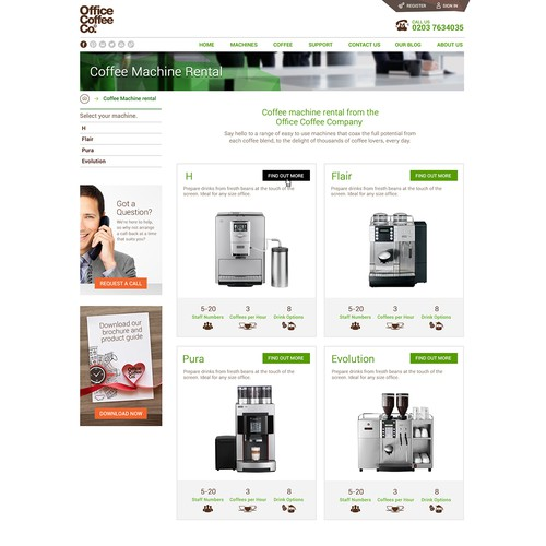 Create a market leading office coffee machine website.