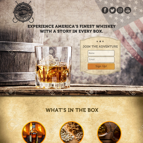 Whiskey Monthly Subscription Box Landing Page
