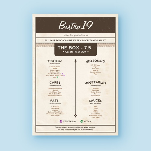 Design the Menu for a Bistro serving health conscious food