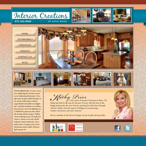website design for Interior Creations by Kathy Prior