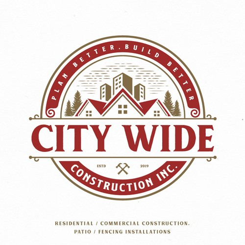 vintage logo for City Wide Construction, Inc