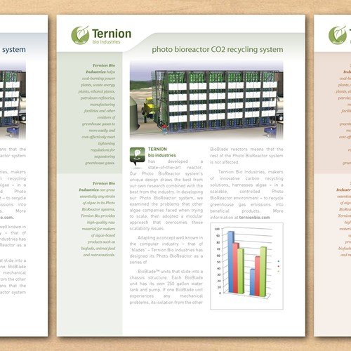 "One page data sheet needed for ""green"" company."