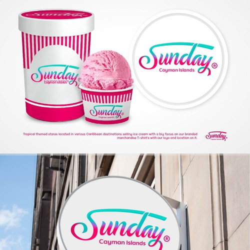 Fun and organic ice cream logo concept.
