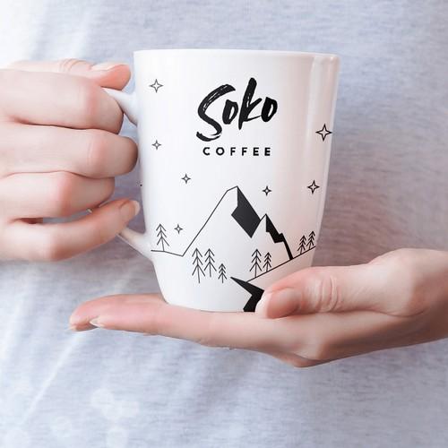 Ceramic mug design for coffee shop