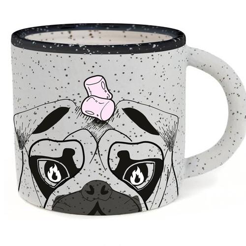 Outdoorsy pug illustrations