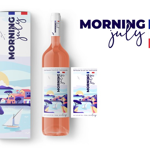 "Label for ""Morning July"" rosé wine"