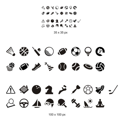Create 57 sports icons for social sports startup
