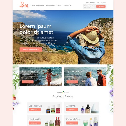 Website design which represents freedom, simplicity, happiness and quality