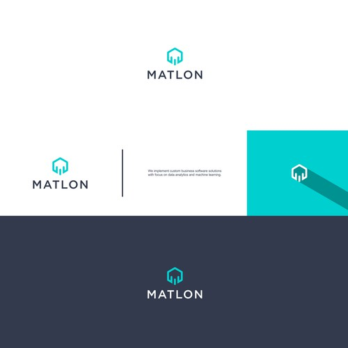 Create an abstract logo for matlon, a technology, software and machine learning company