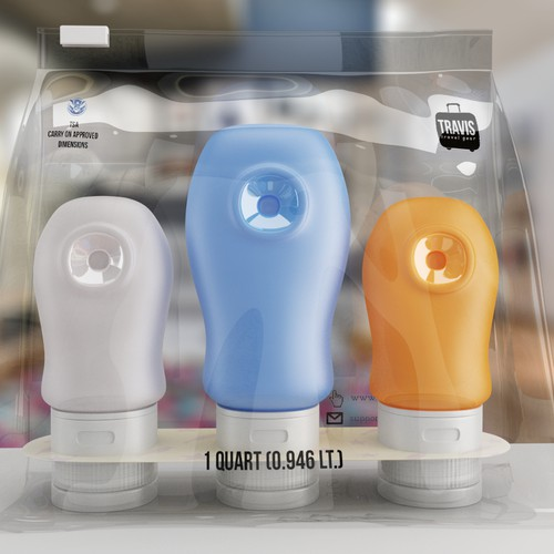 High quality 3D renders for products: travel bottles inside a plastic bag.