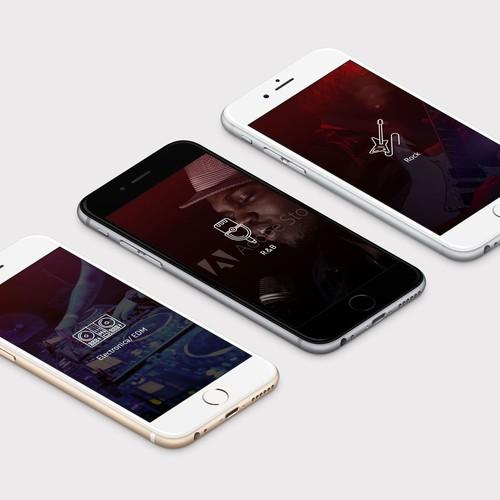 Genres screens for music app