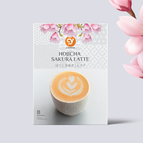 Design a premium Japanese Roasted Matcha hojicha sakura latte