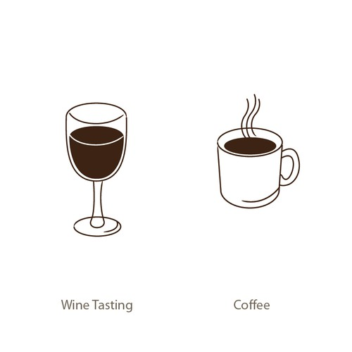 Wine/Coffee/Antiques Illustrations