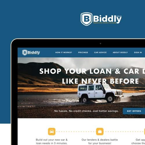 Biddly Homepage Design