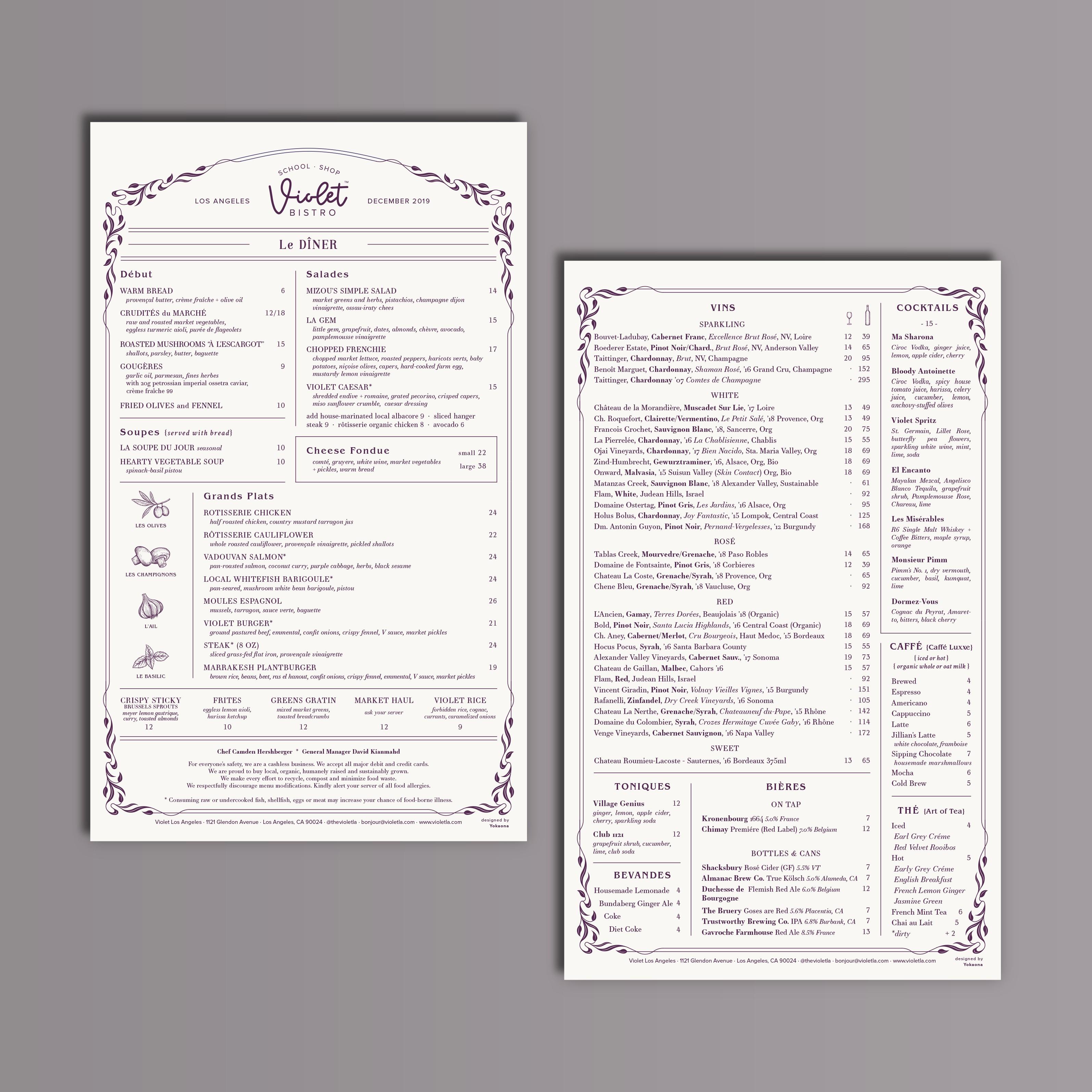Violet™ - Dinner Menu Design