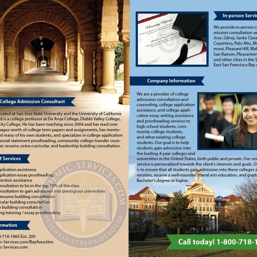 Brochure Design Needed for College Consultant