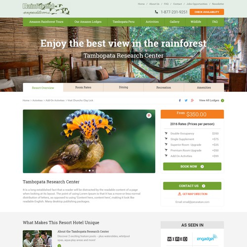 Redesign a webpage for a hotel in the Amazon Jungle