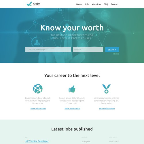 Landing page for job hunting service