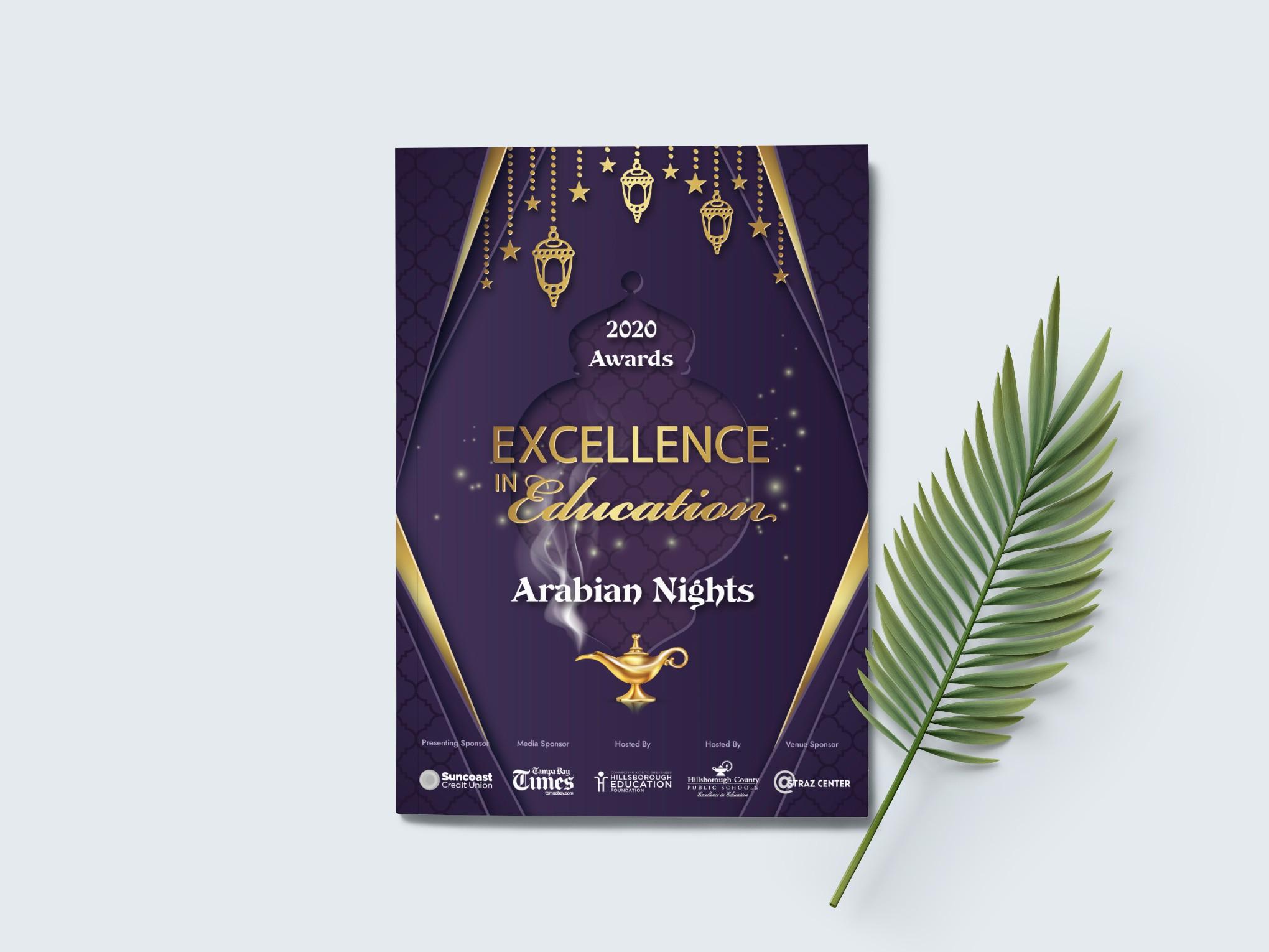 Design Arabian Nights theme for program/booklet to honor teachers