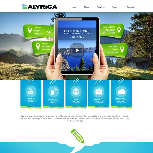 Friendly website for Alyrica Internet