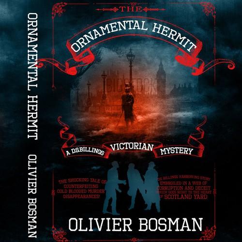 Create an original retro style book cover for a Victorian detective novel.