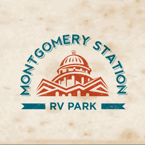 vintage-look logo design for Montgomery Station RV Park