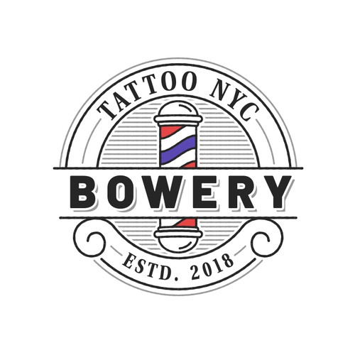 Vintage Logo for a Tattoo Salon and Barbershop