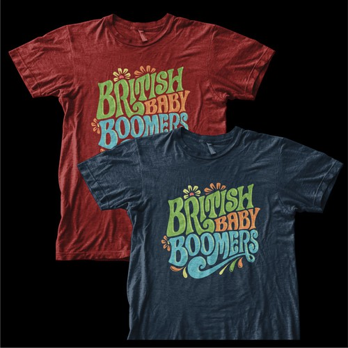 60s Hippie Psychedelic British Baby Boomer Tshirt Wanted - Fun, Bright Colors