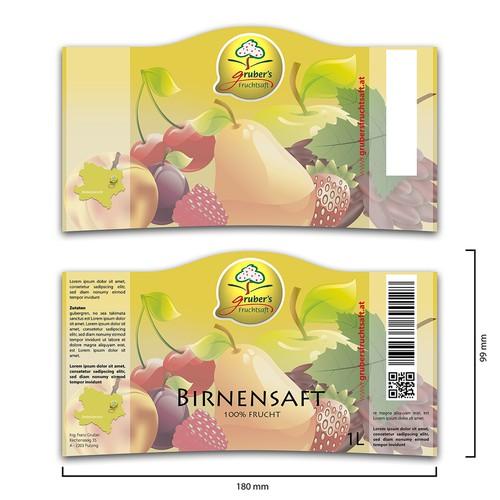 Erstellt eine ansprechende Etikette für qualitativ hochwertige Fruchtsäfte.