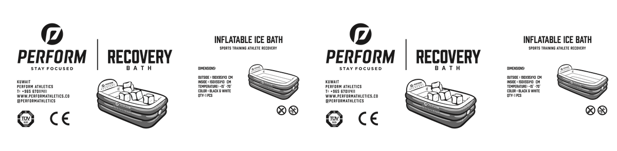"""Carton box for inflatable ice bath called """"Perform Recovery"""""""