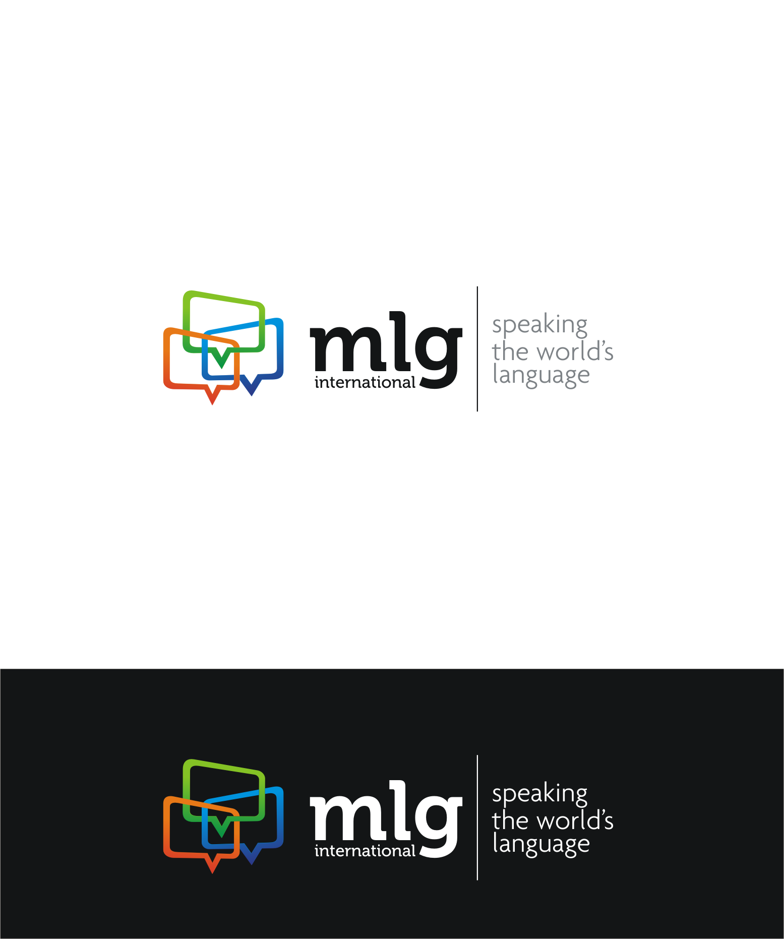 logo and business card for MLG International
