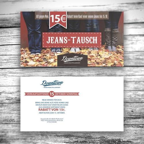 Jeans store postcard design