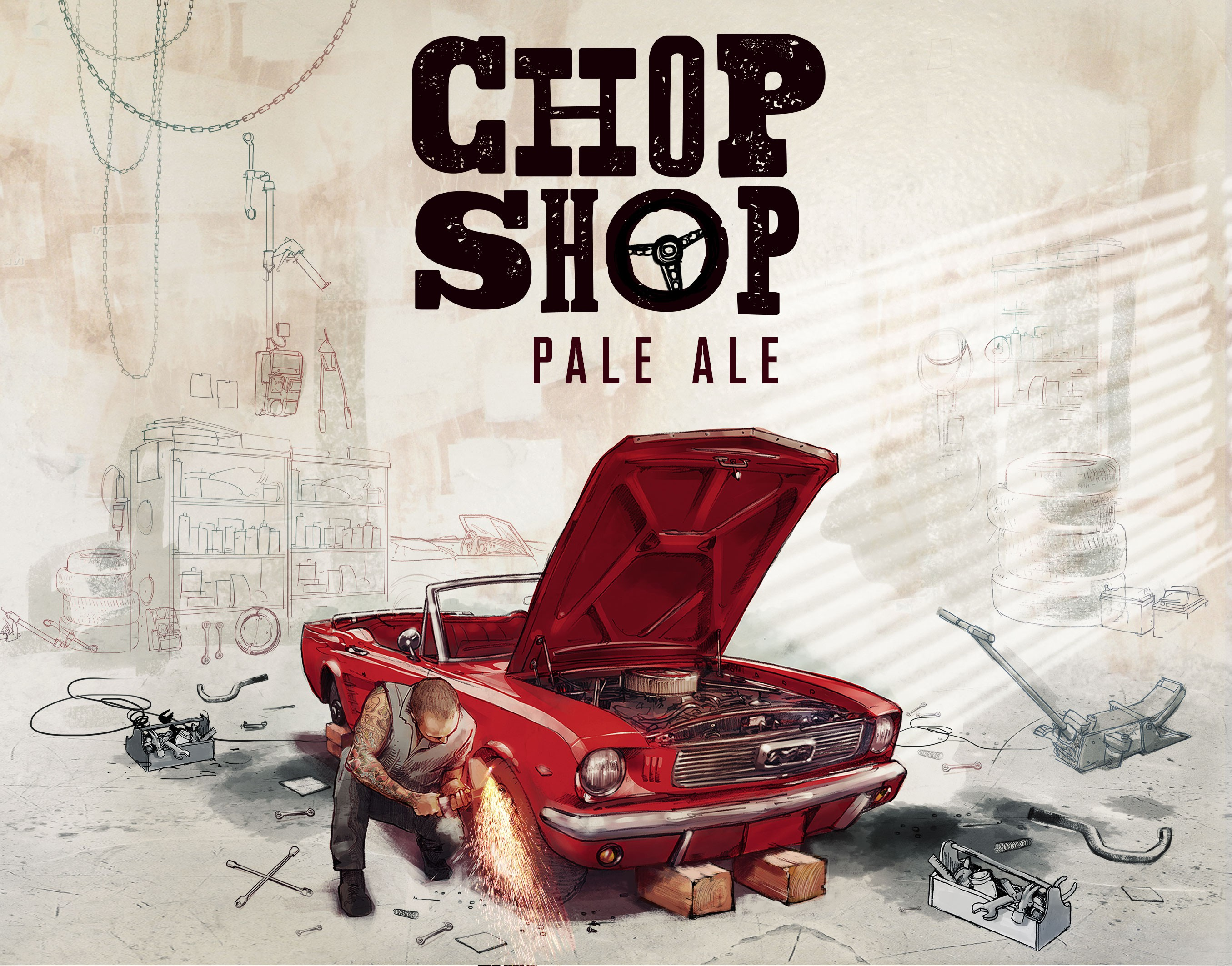 """Design an awesome, edgy graphic for our new brew, """"Chop Shop"""" Pale Ale"""