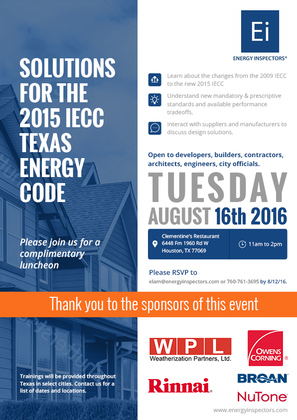 2015 IECC Training - Houston 8/16