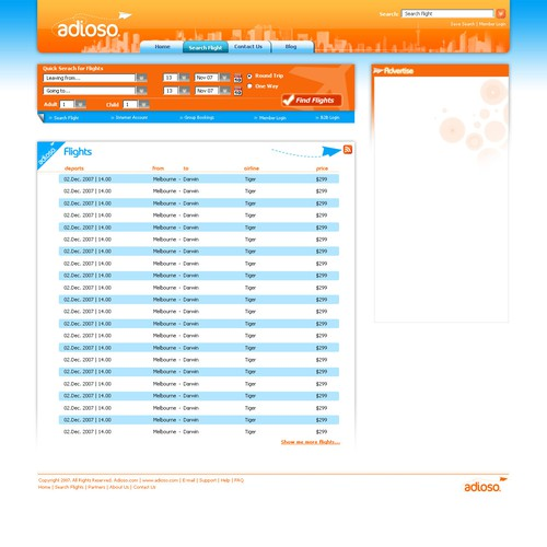 adioso.com #2 - $525 UNcoded template for flight search engine