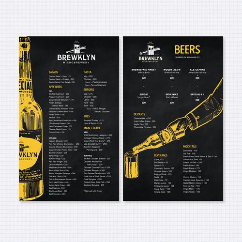 Menu design for brewery
