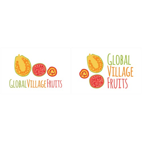 New logo for Global Village Fruits - healthy, delicious, exotic, organic, + social impact