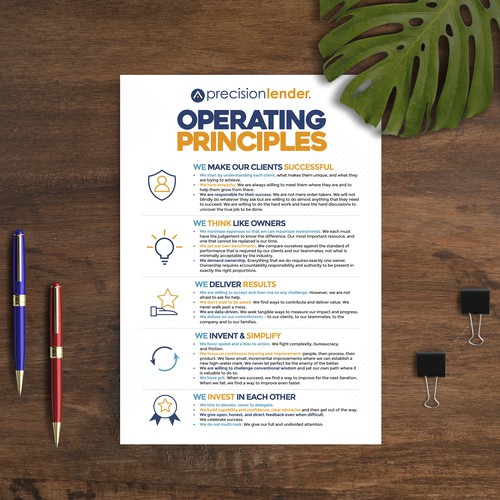 Poster to showcase our new company Operating Principles