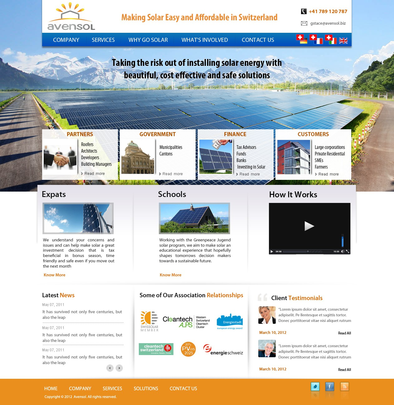 Website design for Avensol - A Swiss solar consultancy