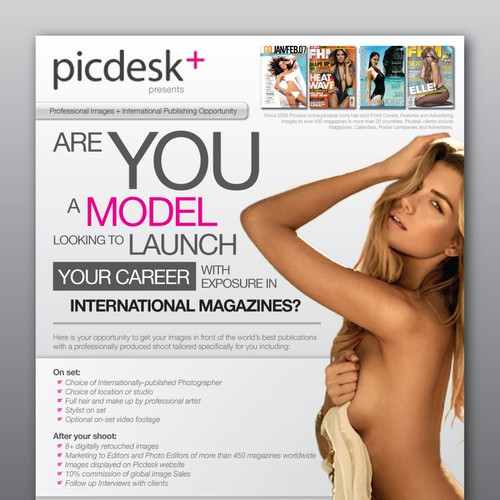 Glamour model test shoots 1 page brochure - A4