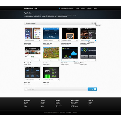 Create the next website design for Publisher Analytic Portal